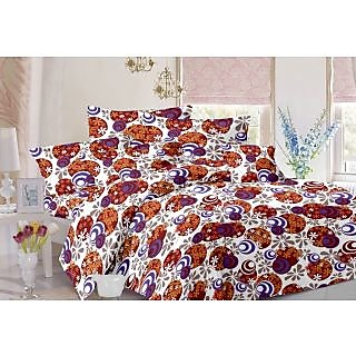 Valtellina Floral Design Brown Colour Cotton Double Bed Sheet with 2 Pillow Cover - TC-140