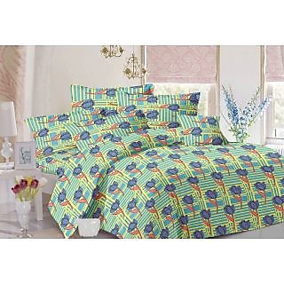 Valtellina Floral Design Blue Colour Cotton Double Bed Sheet with 2 Pillow Cover - TC-140