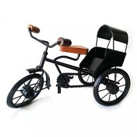 UniqKrafts Decorative Antique Tricycle/Rickshaw Medium Size Showpiece,Metal, Black, Home Decor, Table Decor, Antique Gif
