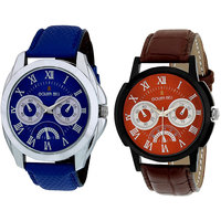 Golden Bell Round Dial Blue Leather Strap Men Blue Watc