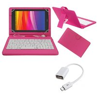 7inch Keyboard For Datawind UbiSlate 7CX Tablet- Pink With OTG Cable By Krishty Enterprises