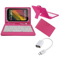 7inch Keyboard For Datawind Ubislate 7SC Star Tablet- Pink With OTG Cable By Krishty Enterprises