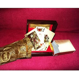 24Karat gold foil made playing card set with wooden box.. (doolar design