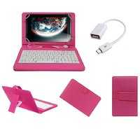 7inch Keyboard For IBall Slide Octa A41 Tablet - Pink With OTG Cable By Krishty Enterprises