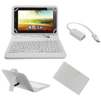 7inch Keyboard For HCL ME Connect V3 Tablet - White With OTG Cable By Krishty Enterprises