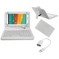 7inch Keyboard For IBall 3G 7345Q-800 Tablet - White With OTG Cable By Krishty Enterprises