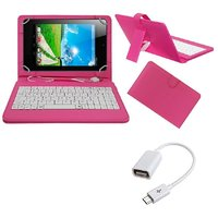 7inch Keyboard For IBall Slide Cuddle 4G Tablet - Pink With OTG Cable By Krishty Enterprises
