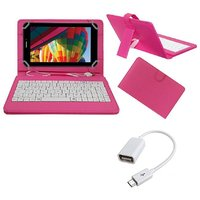7inch Keyboard For IBall Slide Snap 4G2 Tablet - Pink With OTG Cable By Krishty Enterprises