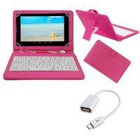 7inch Keyboard For Lenovo Tab 2 A7-30- Pink With OTG Cable By Krishty Enterprises