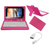 7inch Keyboard For Intex IBuddy IN-7DD01 Tablet - Pink With OTG Cable By Krishty Enterprises