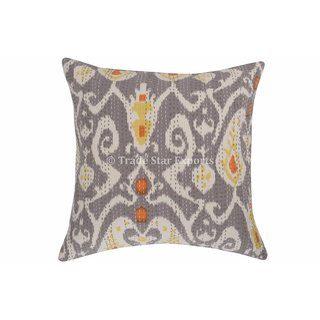 Indian Ikat Pillow 16 Handmade Kantha Cotton Cushion Covers Ethnic Throw Pillow Cases