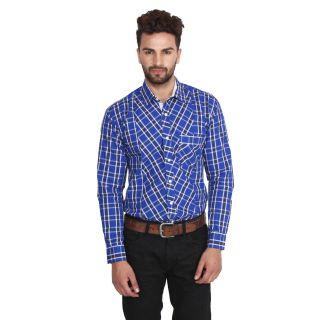 Nineteen97 Men's Casual Slim Fit Navy Blue Check 100% Cotton Shirt
