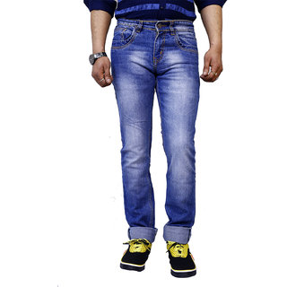 11Cent Mens Stonewashed Blue Jeans