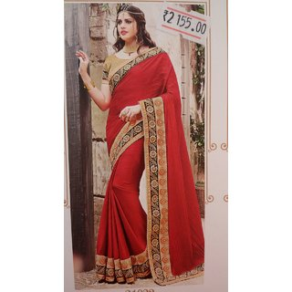 Mohini Silk Red Saree with Black and Cream Border