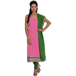 Platinum Pink Zari Cotton Unstitched Dress Material
