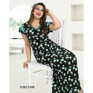 d4bb80fca2 Womens Printed Nighty Daily Floral Print Slip Bedroom Fun Sleep Gown 559B  Black Maxi Lounge wear