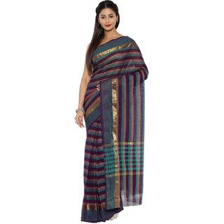 Platinum Present Multi Color Striped Work Pure Cotton Saree Without Blouse Piece
