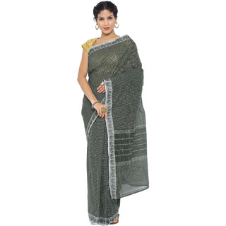 Platinum Present Black Color Checkered Work Pure Cotton Saree Without Blouse Piece