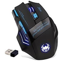 Zelotes 2.4GHz Professional Wireless Mouse,7 Buttons 2400DPI Blue LED Optical Gaming Mouse Mice For Notebook, PC, Mac, Laptop (Black)