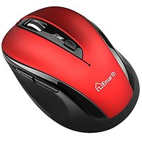 Emarth 2.4G Wireless Silent Mice, Optical Noise Reduction Quiet Click Mice With USB Nano Receiver, 5 Buttons 1600DPI Ergonomic Design, For PC/Computer/Laptop, Red