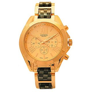 Black Rose Gold Case Checkered Faux Chronograph Roman Numeral Plated Three Crown Women Dress Watch