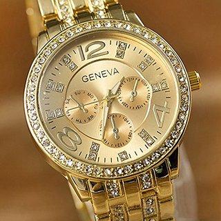 Geneva Luxury Gold Classic Round Crystal Ladies Watch
