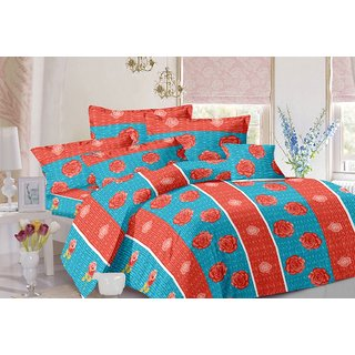 Valtellina Stripes Design Sky Colour Cotton Double Bed Sheet with 2 Pillow Cover - TC-140