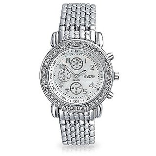 Bling Jewelry Geneva Stainless Steel Back Round Deco Style Crystal Watch