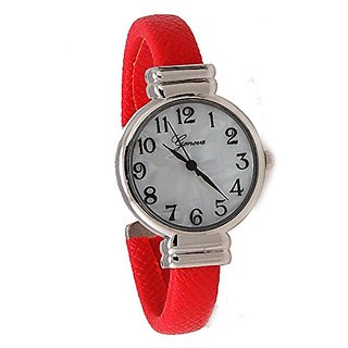 Womens Classic Snake Style Easy Read Bangle cuff Watch-Red