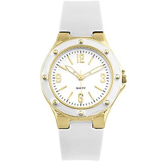 Womens Gold and white silicone watch with screw detailed bezel