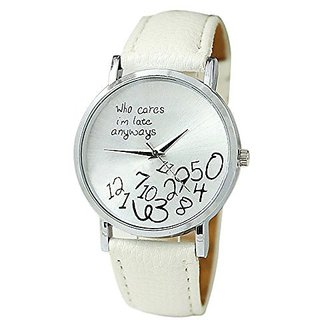 New Arrival Leather Strap Watch Who cares im already late Women Watch Geneva Watches Quartz Watch