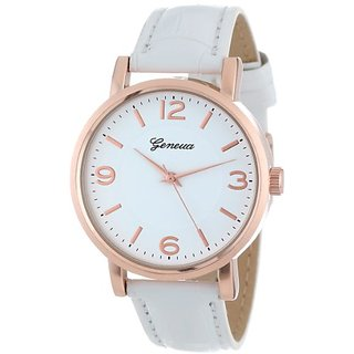 Geneva Womens 2363-rosegold-GEN Brushed Metal Leather Band Watch
