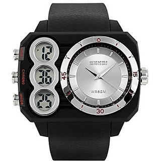 SKMEI Mens SK1090A Dual Time Dispaly Multifunctional Digital Watch Silver