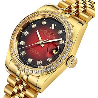 Gosasa Red Dial Diamonds Mens Gold Stainless Steel Band Automatic Mechanical Watches