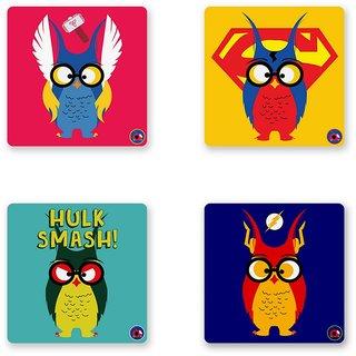 SUPER OWLS COASTER SET OF 4