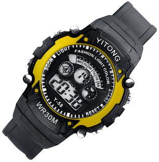 Mens Watch Quartz Digital Watch Men Sports Watches LED Digital Watch Yellow