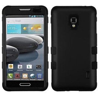 MYBAT Hybrid Phone Protector Cover for LG MS500 Optimus F6/D500 Optimus F6 - Carrying Case - Retail Packaging - Black/Bl