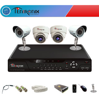 Tentronix CCTV system 4Ch H.264 Network DVR With 4 Day&Night 800TVL cameras