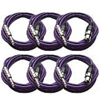 Seismic Audio SATRXL-F10 10-Feet XLR Female To 1/4-Inch TRS Patch Cables - Purple
