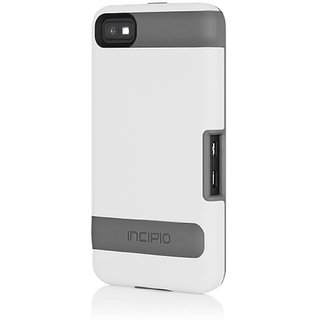 Incipio BB-1011 OVRMLD with Holster for BlackBerry Z10 - 1 Pack - Retail Packaging - White / Gray