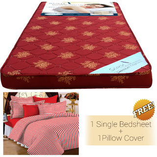 Story @ Home Maroon Foam Matress(72 *35 * 4 inch ) With Cotton Single Bedsheet & 1 Pillow Cover