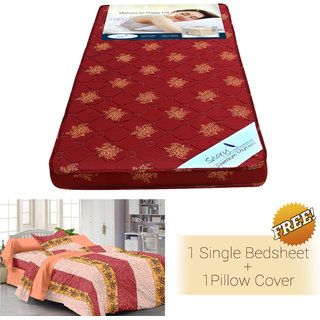 Story @ Home Maroon Foam Matress(72 *30 * 4 inch ) With Cotton Single Bedsheet & 1 Pillow Cover