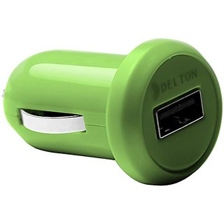 Delton Platinum 1 Amp Universal USB Car Charger - Retail Packaging - Green