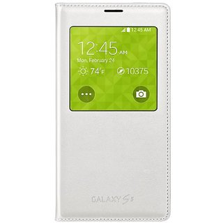 Samsung Galaxy S5 Wireless Charging Case S View Flip Cover Folio - White
