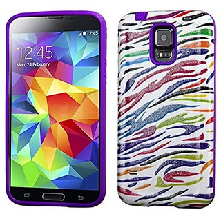 MyBat Advanced Armor Protector Cover for Samsung Galaxy S5 - Retail Packaging - Colorful Zebra Glittering/Purple