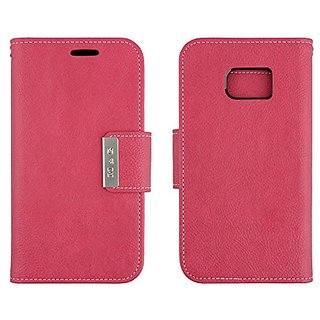 Galaxy S7 Wallet Case Scret Pu Leather Flip Diary Cover with Built-in Credit Card Slots ID Card Holder (Hot Pink)