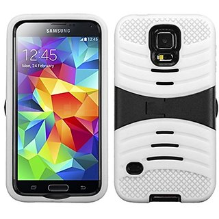 Asmyna Wave Symbiosis Protector Cover with Horizontal Kickstand for Samsung Galaxy S5 - Retail-Packaging - Black/White