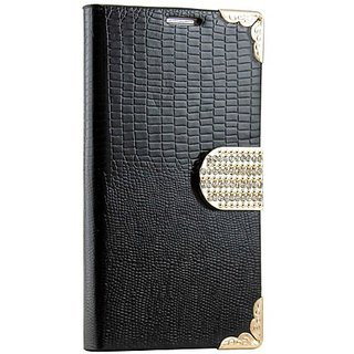 Gearonic AV-5378BPUIB Luxury Rhinestones Wallet PU Leather Magnetic Flip Cover Case for Samsung Galaxy S4 i9500 - Non-Re