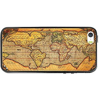 Cellet Protective Vintage World Map TPU / PC Proguard Case for iPhone 5 / 5s - Retail Packaging - Clear/Black