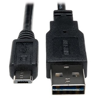 Tripp Lite Universal Reversible USB 2.0 Hi-Speed Cable (Reversible A to 5Pin Micro B M/M) 1-ft.(UR050-001)